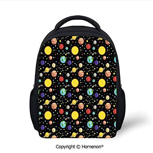 - 3D Comets and Constellations Stars with Polka Dots Earth Sun Saturn Mars Solar System Printing Backpack Kids School Bag Children Backpack,(12.2