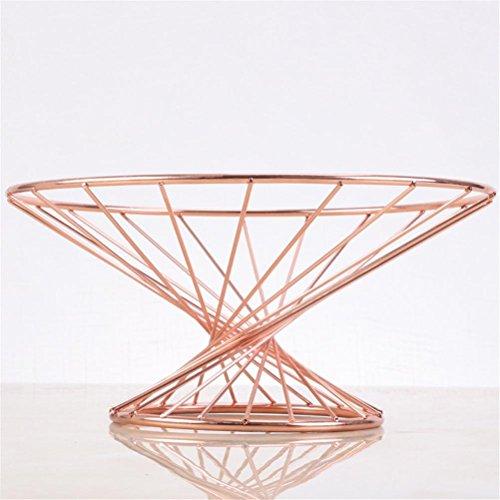- MQYHZ@ Fruit Basket Drain Fruit Bowl Multifunction Candy Box European Style Waist Line Fruit Dish 1411.525CM, Rose Gold