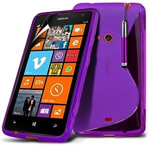 (Violeta) Nokia Lumia 625 Protección onda S Línea Gel piel cubierta retráctil Capacative Pantalla Táctil Lápiz Óptico & 3 Pack Protector de pantalla LCD Protector de Spyrox