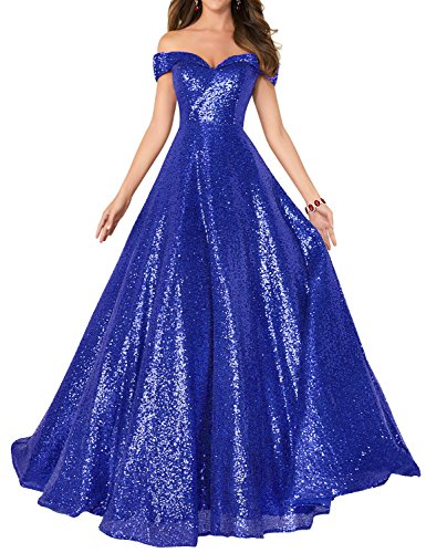 2018 Off Shoulder Sequined Party Dresses Plus Size Homecoming Gowns A Line  Empire Waist Robes Plus Size Formal Evening Skirts Long Elegant Gowns ...