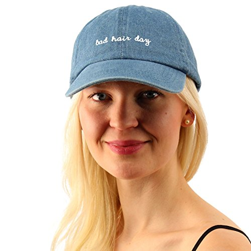 Everyday Bad Hair Day Adjustable Cotton Baseball Sun Visor Cap Dad Hat Denim