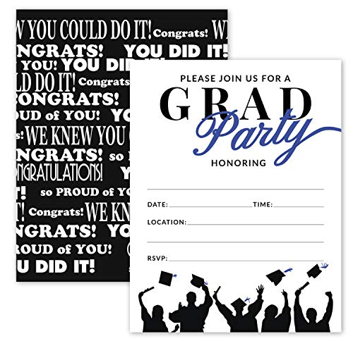 25 Blue & Black Graduation Party Invitations with Envelopes for College, High School, University Grad Celebration or Announcement- Invite Cards Fill In Style- Party Decorations Supplies ()