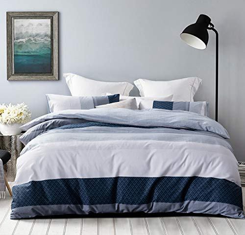 SLEEPBELLA Duvet Cover Set, 600 Thread Count Cotton White and Navy Striped Patchwork Comforter Cover Set Reversible Quilt Cover (King, Greekn-Lump) (And Quilt Duvet)
