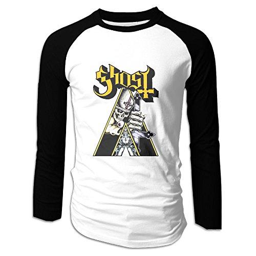 Creamfly Mens Popestar Ghost B.C.  Long Sleeve Raglan Baseball Tshirt - With Square Jaws Men