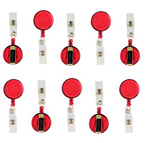 10 Pack Foretra Retractable Reel Badge ID Holder Badge Reel Clip On Card Holder Translucent (Red)