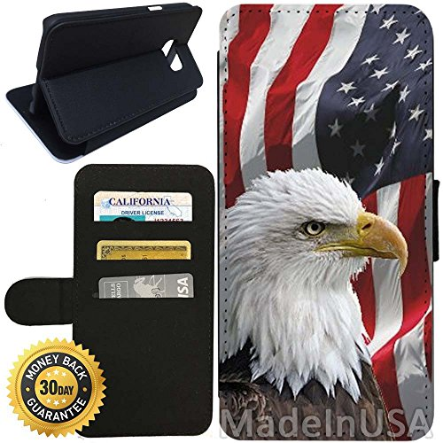 Flip Wallet Case for Galaxy S7 (Bald Eagle American Flag) with Adjustable Stand and 3 Card Holders | Shock Protection | Lightweight | Includes Stylus Pen by - Canada Buy Glasses