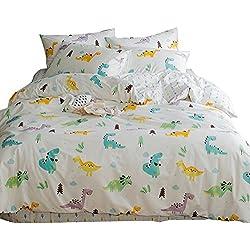 New Cartoon Dinosaur Blue Queen Duvet Cover Sets for Kids Teen 100% Cotton Reversible Comfortable 3 Pieces Boys Bedding Duvet Cover Pillowcases Girls Bedding Sets Full Size, Dinosaur Park,NO Comforter