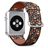 Compatible with Apple Watch 38mm & 40mm Leather Watch Wrist Band Strap Bracelet with Stainless Steel Clasp and Adapters (Day Dead)