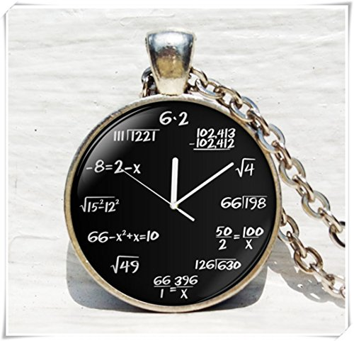Math clock art pendant, math clock necklace, clock jewelry, clock art necklace, math clock pendant, math clock Pendant