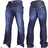 Von Denim Men's Wide Leg Stretch Bootcut Flared Blue Heavy Denim Jeans in All Waist and Sizes Darkwash 42W X 32L