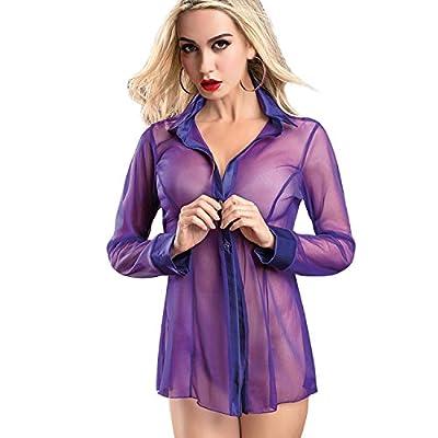 ETAOLINE Women's Sexy Sheer Sleepshirt Pajamas Long Sleeve Mesh Blouse Lingerie