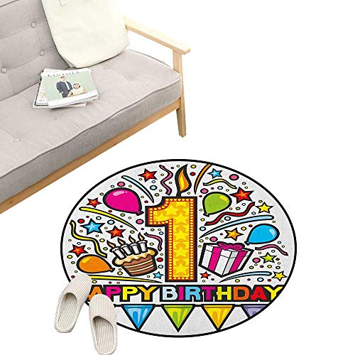 """1st Birthday Kids Round Rug ,Cartoon Pop Art Style Celebration Theme Party with Cake and Balloons Print, Sofa Living Room Bedroom Modern Home Decor 31"""" inch Multicolor"""