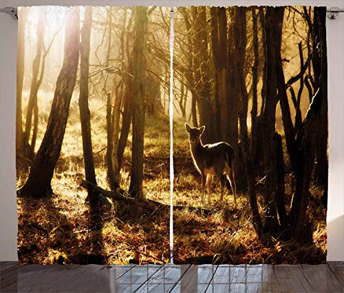 Ambesonne Cabin Decor Curtains, Young Deer at Sunset in The Forest National Park Outdoors Netherlands Photo, Living Room Bedroom Window Drapes 2 Panel Set, 108 W X 96 L Inches, Yellow Brown