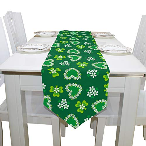 ASVIP St Patrick's Day Table Runner Green Irish Shamrock Clover Flowers Double-Sided Polyester Long Table Cover for Kitchen Dining Party Home Decor 13 x 70 Inches