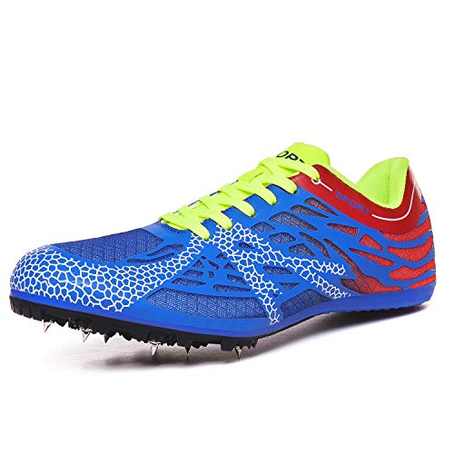 iFRich Track Spikes Shoes Mens Womens Mesh Track and Field Athletics Sneakers Boys Girls Training Sprint Racing Track Shoes with Spikes (3.5 M US,Blue)