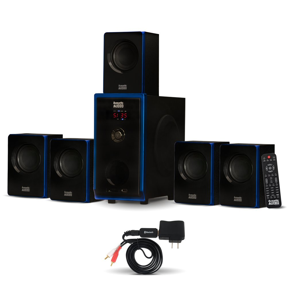 Acoustic Audio AA5102 Bluetooth Powered 5.1 Speaker System Home Theater Surround, Black (AA5102) by Acoustic Audio by Goldwood