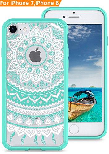 iPhone 8 iPhone 7 Case, Modos Logicos [Mandala Totem] Hybrid Case, Transparent Hard PC Back Scratch Resistant Plus Soft TPU Frame Shock Absorption Bumper for iPhone 8 iPhone 7 4.7 - Green Frame