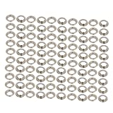 uxcell® 100pcs 10mm Iron Eyelet Grommets Silver Tone w Washers for Clothes Leather