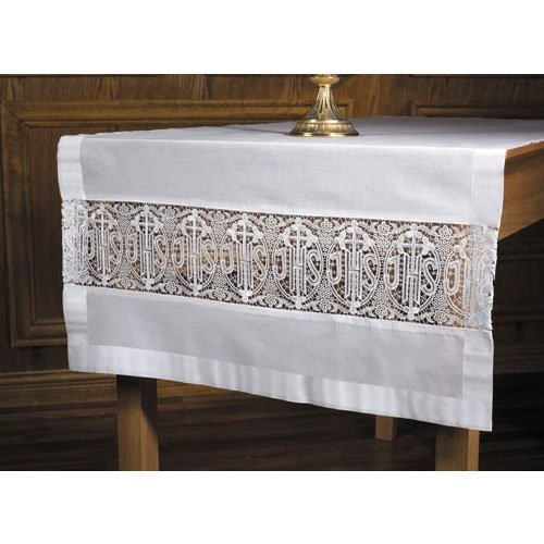 Latin Cross and IHS Lace Altar Frontal Cloth Altar Cross