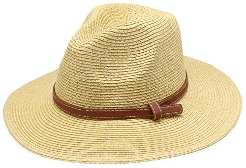 Women's Braid Straw Wide Brim Classic Fedora Sun Hat UPF 50+ with Adjustable Drawstring (F2250, Natural)
