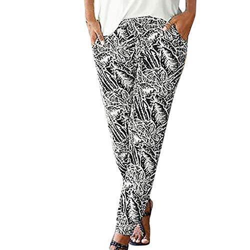 TOPUNDER Women High Waist Printing Easy Trousers Long Pants Sandy Pockets Beach Pants]()