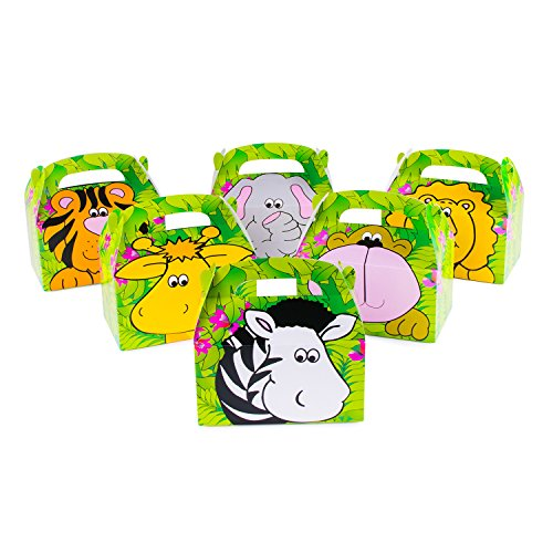 Pink Hat Box (Safari Zoo Animals Treat Gift Boxes Birthday Party Favor Jungle Theme 12 Pack By Super Z Outlet)