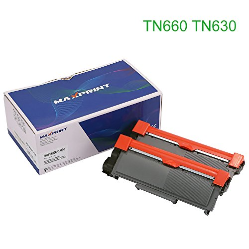 Maxprint Compatible Super High Yield Toner Cartridge for Brother TN660 TN630 Suits Brother HL-2340DW HL-2300D HL-2380DW MFC-2700DW L2740DW DCP-2540DW 2520DW HL-2320D MFC-2720DW 2740DW (2 Black)