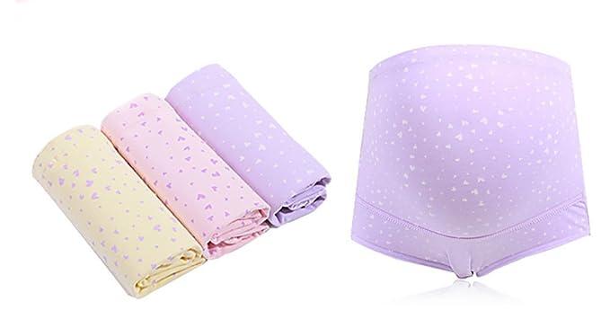 Kbwin Las Mujeres Embarazadas de algodón de Cintura Alta Briefs 3 Pack de Verano más el
