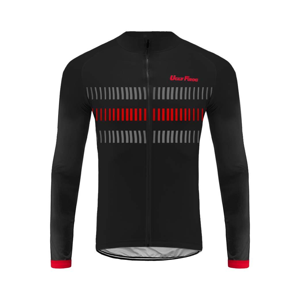 Uglyfrog Herren Winter Thermal Fahrradbekleidung Set Radtrikot Langarm Winddicht Herren Thermische Fleece mit 3D Polster Hosen F08