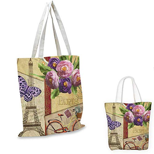 Paris portable shopping bag Famous French Landmark Eiffel Tower Postcards with Abstract Striped Backdrop Print shopping bag for women Multicolor. 15