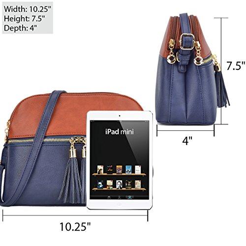Purse Medium Crossbody Women Shoulder with Blue Bag Light Blue Navy Tassel Compartment Lightweight BaqAwqfS