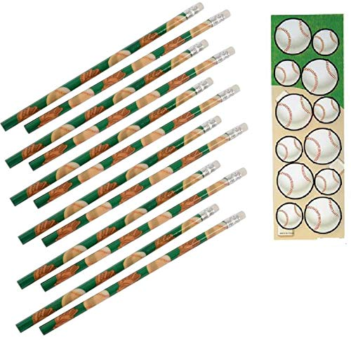 (Baseball Party Favors ~ 1DZ (12) Baseball Pencils & 12 Baseball Sticker Sheets (144 Stickers) Party giveaway Goody bag Sports Theme)