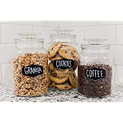 Godinger Round Clear Glass Airtight Lids Chalkboard Canister Jar Set of 3 with 3 Stick on Labels and Chalk Included.