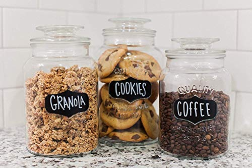 Godinger 3-piece Airtight Glass Canisters - Round Clear Storage Containers with Sealed Lids, Chalkboard Jar Set of 3, Chalk Included - Perfect Housewarming Gift (Cookie Jars Set)