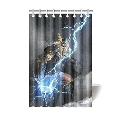 Amazon Shower Curtain Viking Scandinavian God Thor Polyester