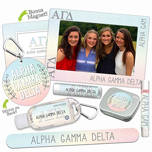 Alpha Gamma Delta DELUXE Variety Set (Nail File, Mint Tin, Mirror, Magnet Frame, Lip Shimmer, Lip Balm, Sanitizer)-Ideas for gift baskets, gift sets, stocking stuffers. By Worthy.