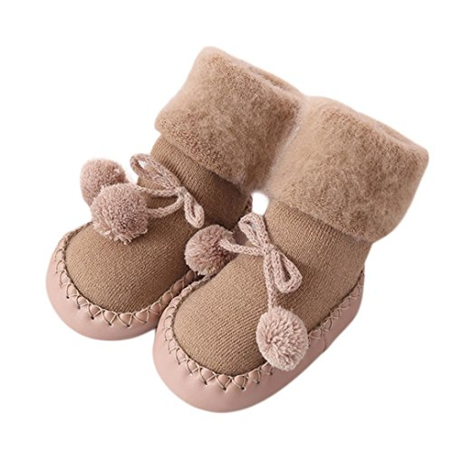 AMA(TM) Cartoon Kids Toddler Baby Anti-slip Sock Boots Slipper Shoes (12-18 months, Khaki)