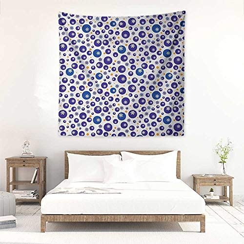 Willsd Floral Decorative Tapestry Blue and Orange Polka Dots with Little Spring Flowers Chamomiles and Daisies Tapestry for Home Decor 70W x 70L INCH Blue White Orange