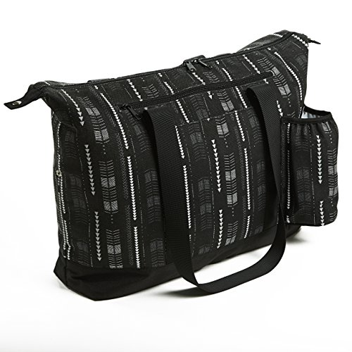 Fit & Fresh Zippered Yoga Mat Tote Bag with Drink Pocket, Holds Most Rolled Exercise Mats, Black & White Arrowhead Stripe