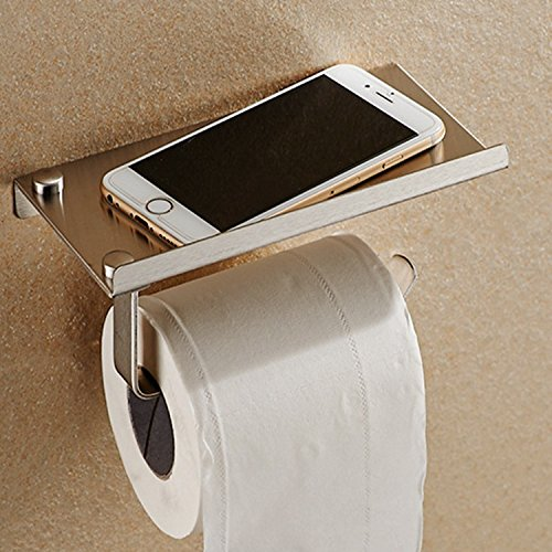 Toilet Paper Holder Rack Wall Mounted Bathroom Tissue Roll Stand Stainless Steel with Mobile Phone Holder Stand