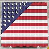 BINGO FLAG Funny Fabric Shower Curtain Star Flag Waterproof Bathroom Decor With Hooks 60 X 72 Inch