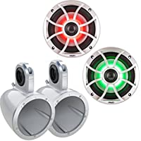Wet Sounds XS-650-S-RGB LED 6.5 100 Watt RMS Speakers with Kicker KMTES White Tower/Roll Bar Enclosures