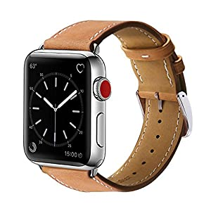 Compatible with Apple Watch Band 42mm, MARGE PLUS Genuine Leather Watch Strap Replacement Band with Stainless Metal Clasp Compatible Apple Watch Series 3 Series 2 Series 1 Sport and Edition, Brown