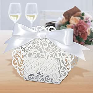 Wedding Gift Boxes Amazon : Amazon.com: Red Leaves Lace Wedding Favor boxes 120pcs (pearlescent ...