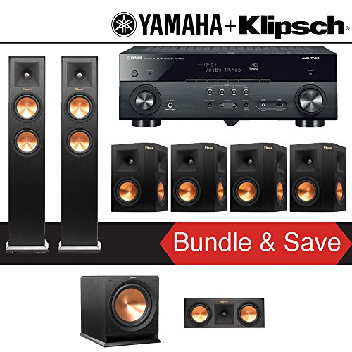 Klipsch RP-250F 7.1-Ch Reference Premiere Home Theater System with Yamaha AVENTAGE RX-A670BL 7.2-Ch 4K Network AV Receiver