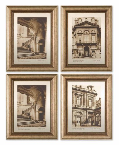 Set of 4 Metal Architectural View Art Accents