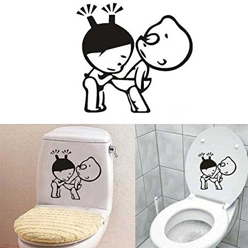 Funny Boy & Girl Bathroom Wall Sticker Toliet Glass Door Decoration (Store Decorations)