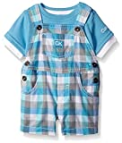 Calvin Klein Baby Boys' Interlock Top with Woven Shortall, Blue/Plaid, 24 Months