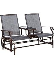 Outsunny Patio Glider Rocking Chair 2 Person Outdoor Loveseat Rocker Garden Furniture Bench