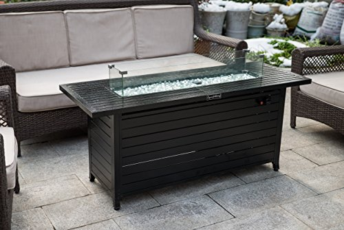 LEGACY HEATING Extruded Aluminum Rectangular Fire Table with Glass Wind Guard, with Cover and Table Lid Review